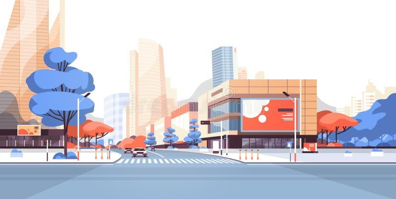 Byggnader för skyskrapa för stadsgataväg beskådar den i stadens centrum affischtavlan för modern cityscape som annonserar horison stock illustrationer