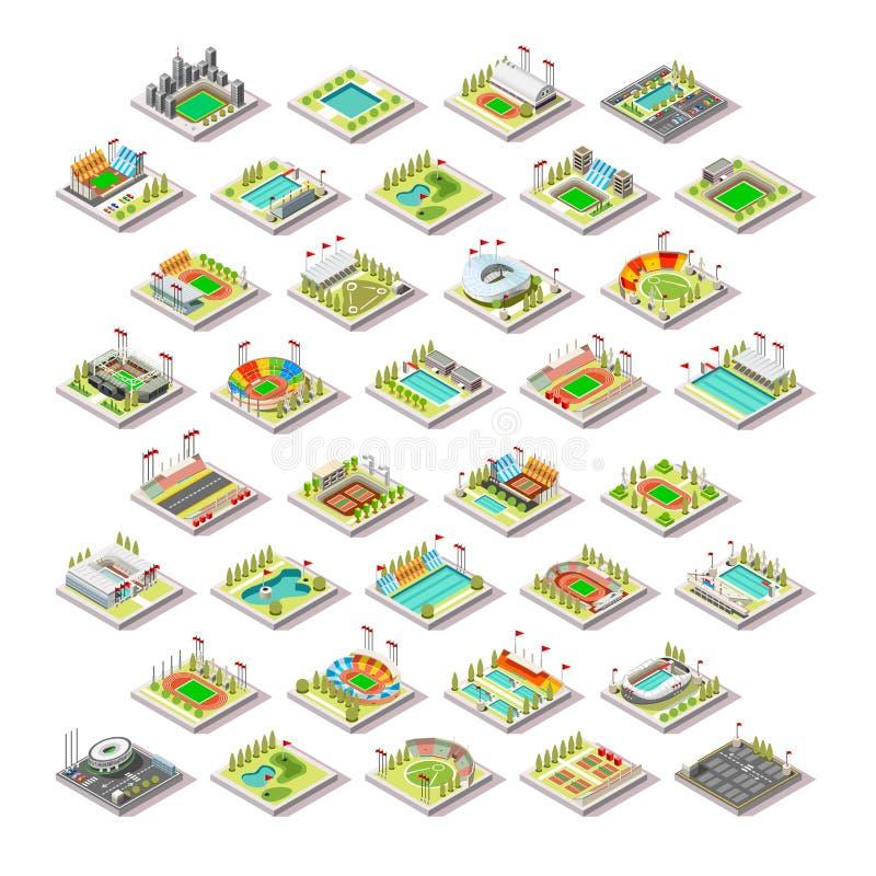 Byggnader för sportlätthet ställde in den isometriska vektorn för staden 3D stock illustrationer