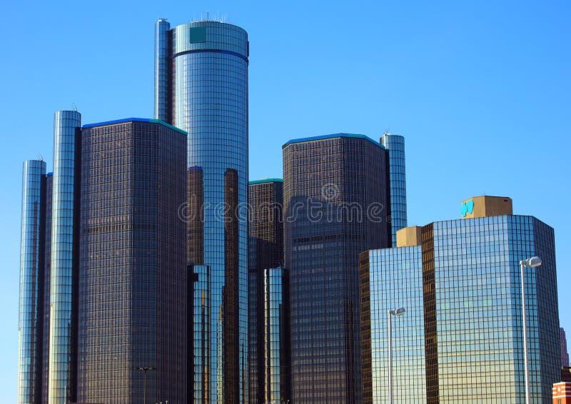 Byggnader för stad för Detroit horisontmotor mest högväxt i Michigan royaltyfri bild