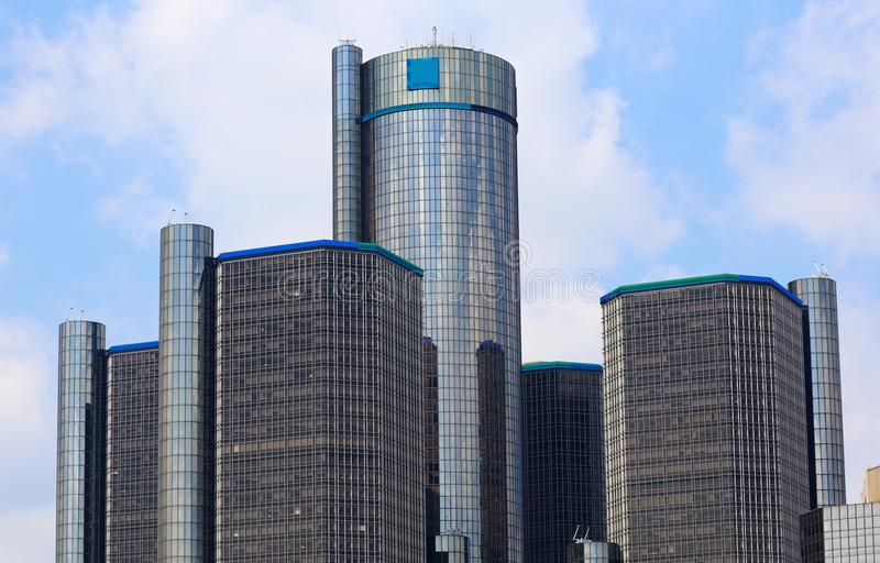 Byggnader för stad för Detroit horisontmotor mest högväxt i Michigan royaltyfria bilder