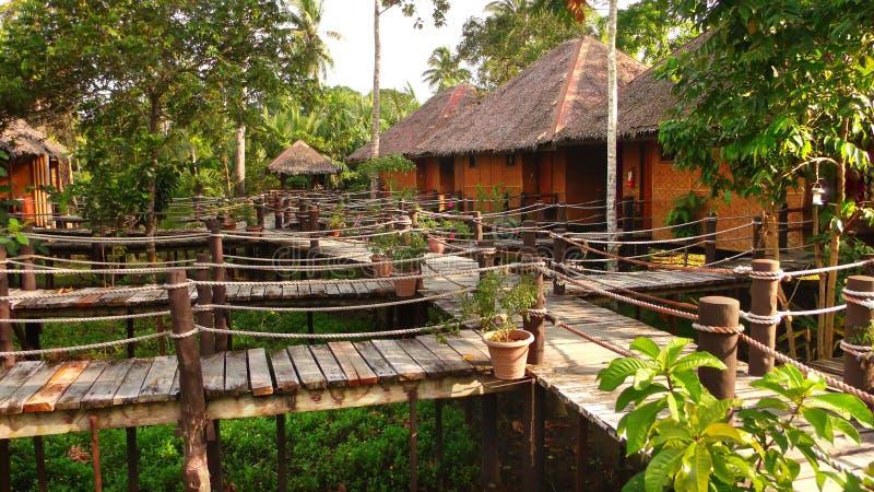 Byggnader för traditionell stil i djungler royaltyfria foton