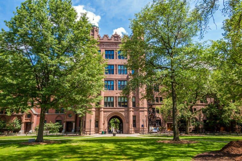Byggnader för Yale universitet i blå himmel för sommar i New Haven, CT USA arkivfoto