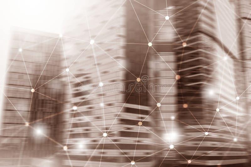Byggnader g?r sammandrag bakgrund Universellt tapetbegrepp royaltyfria bilder