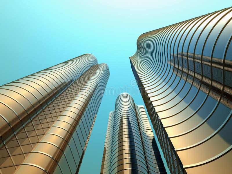 byggnader höga tre vektor illustrationer