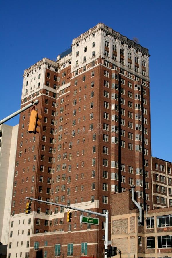 byggnader i city historiska detroit royaltyfria bilder