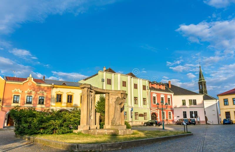 Byggnader i den gamla staden av Prerov, Tjeckien royaltyfri fotografi