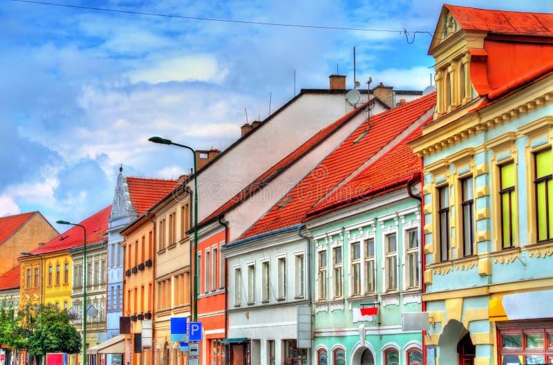 Byggnader i den gamla staden av Trebic, Tjeckien arkivbild