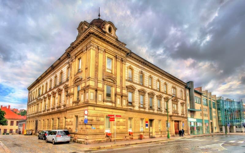 Byggnader i den gamla staden av Trebic, Tjeckien royaltyfri bild