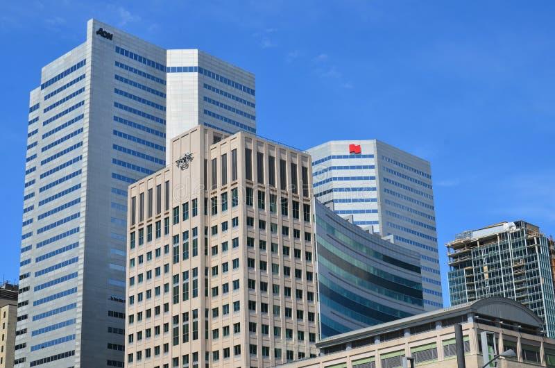Byggnader i Montreals internationella område royaltyfria foton
