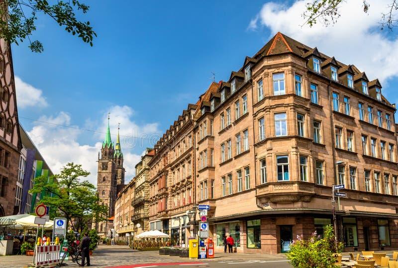 Byggnader i stadsmitten av Nuremberg arkivbild