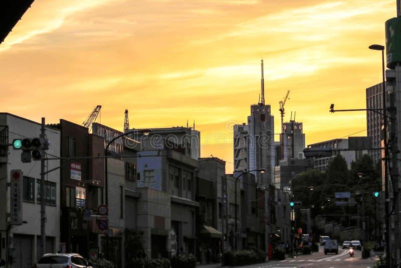 Byggnader i Tokyo, Japan arkivfoton