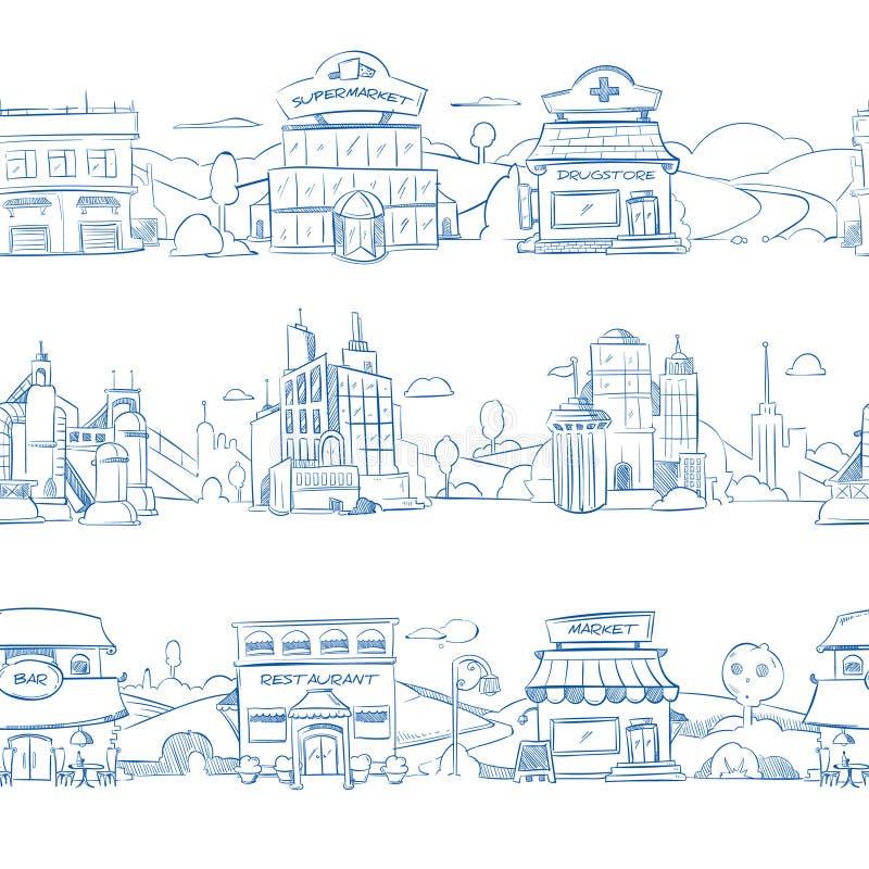 Byggnader, lagret, supermarket och restaurangen för stad utformar återförsäljnings- i handen drog linjen klotter stock illustrationer