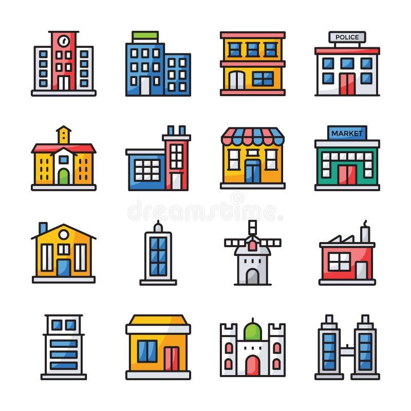 Byggnader s?nker symbolspacken royaltyfri illustrationer