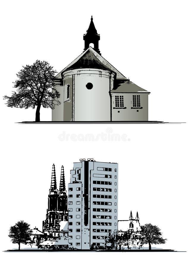 byggnader ställde in vektorn stock illustrationer
