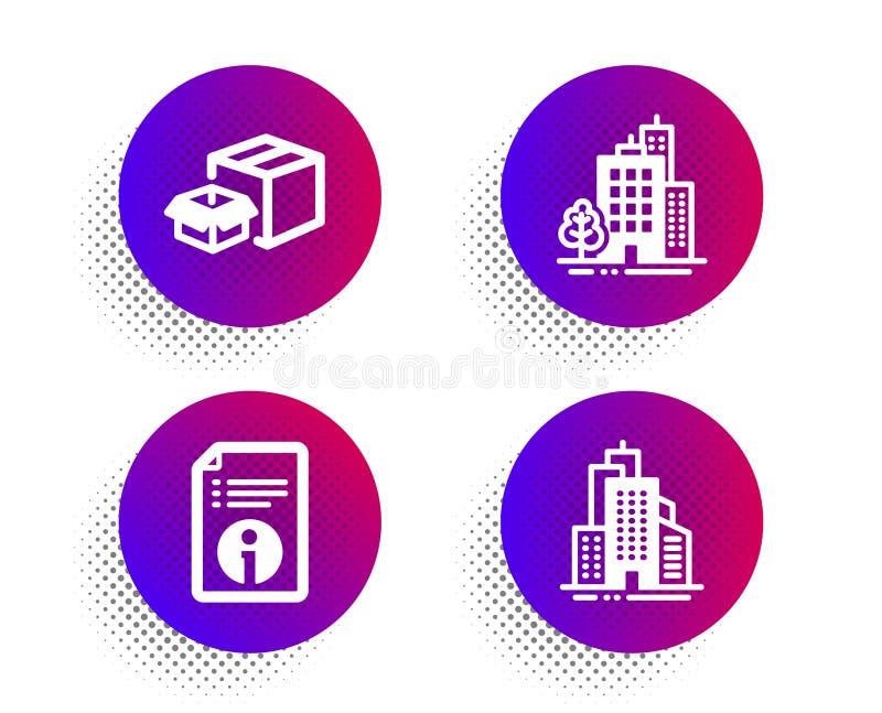 Byggnader, teknisk information och uppsättning för symboler för emballageaskar Skyskrapabyggnader undertecknar vektor stock illustrationer