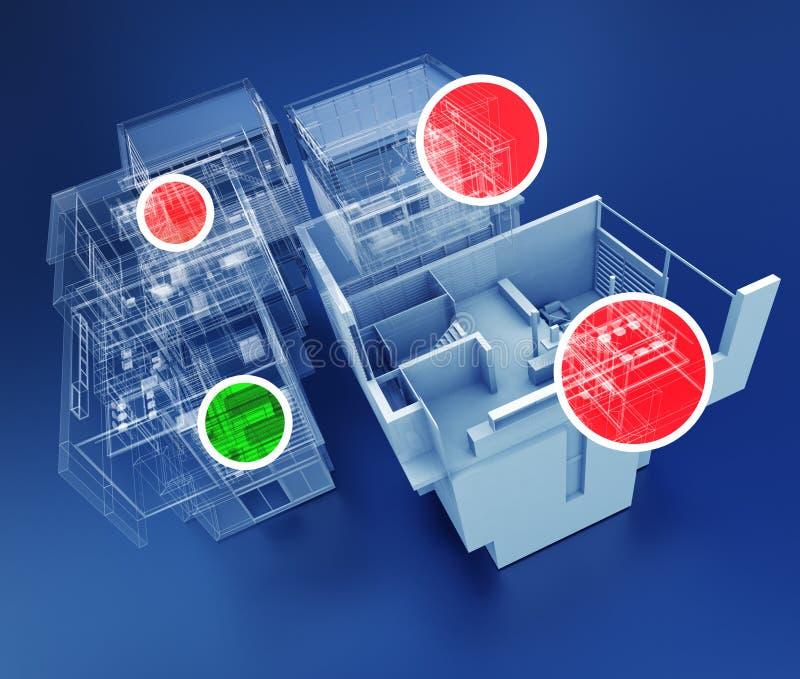 Byggnadsövervakning vektor illustrationer