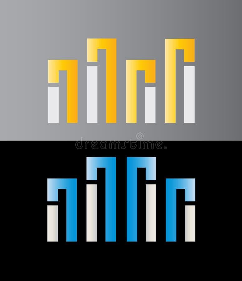 Byggnads-, arkitektur-, Real Estate och konstruktionsvektor Logo Design vektor illustrationer