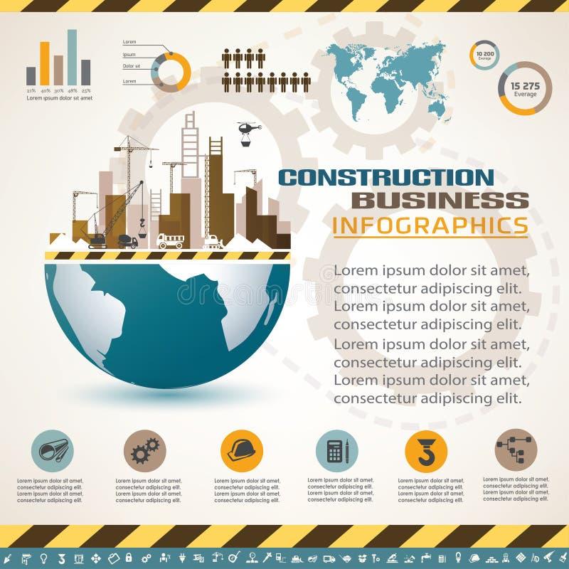 Byggnads- och konstruktionsinfographics royaltyfri illustrationer