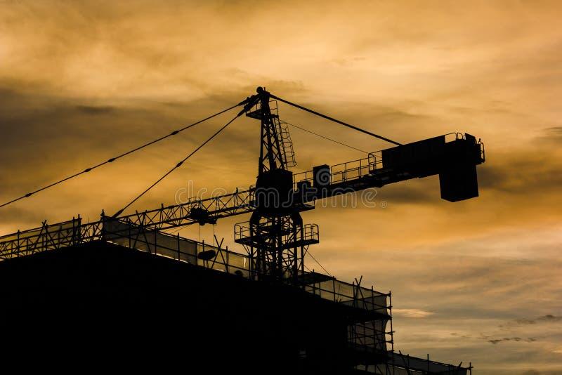 Byggnads- och konstruktionskran under den ljusa guld- timmen fotografering för bildbyråer