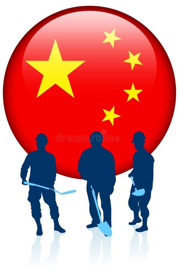 Byggnadsarbetare med den Kina internetknappen stock illustrationer