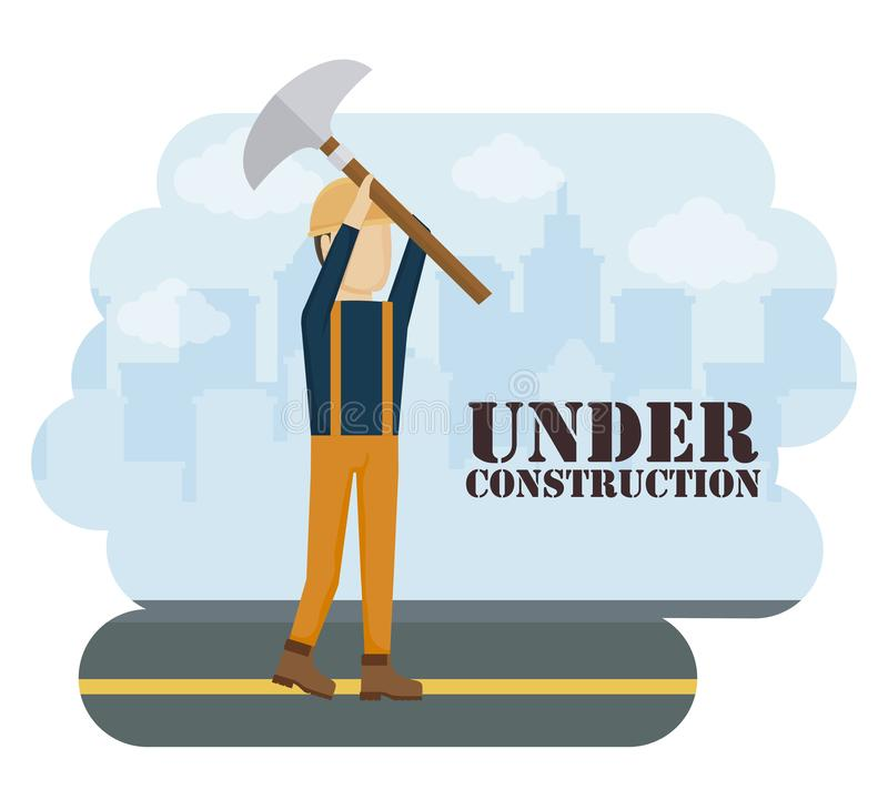 Byggnadsarbetare med hammaren vektor illustrationer