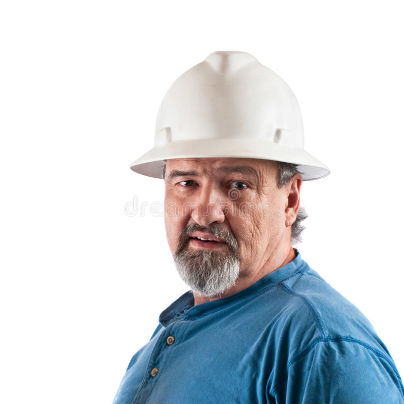 Byggnadsarbetare med hardhaten royaltyfri bild