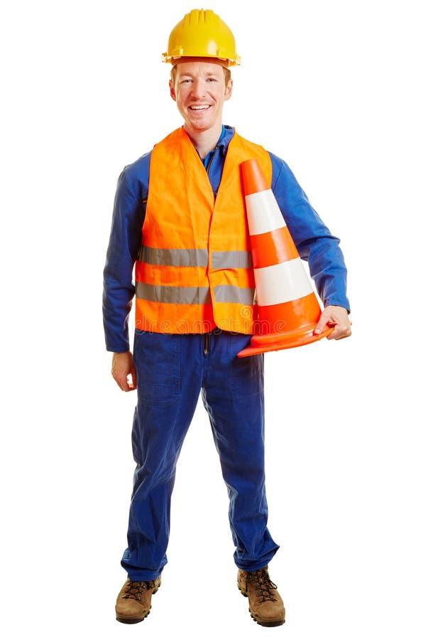 Byggnadsarbetare med hjälmen royaltyfri bild