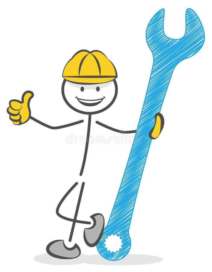 Byggnadsarbetare med skiftnyckeln royaltyfri illustrationer