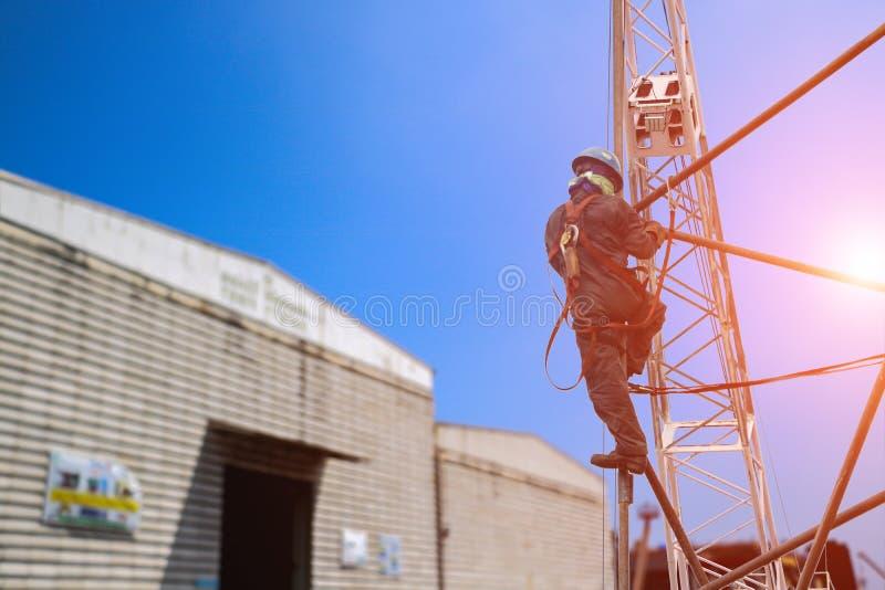 Byggnadsarbetare som bär säkerhetsselebältet på materialet till byggnadsställning arkivfoton