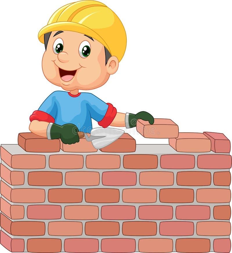 Byggnadsarbetare som lägger tegelstenar royaltyfri illustrationer