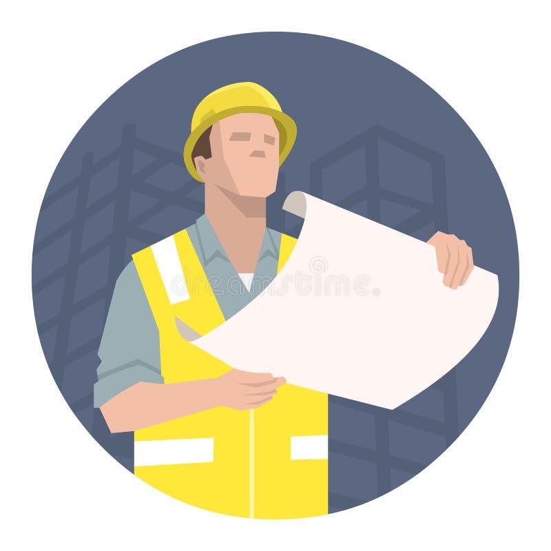 Byggnadsarbetare, tekniker eller arkitekt som ser projektplanet royaltyfri illustrationer