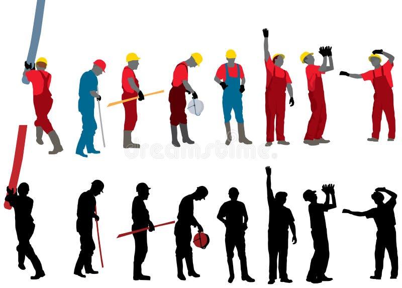 byggnadsarbetarear stock illustrationer