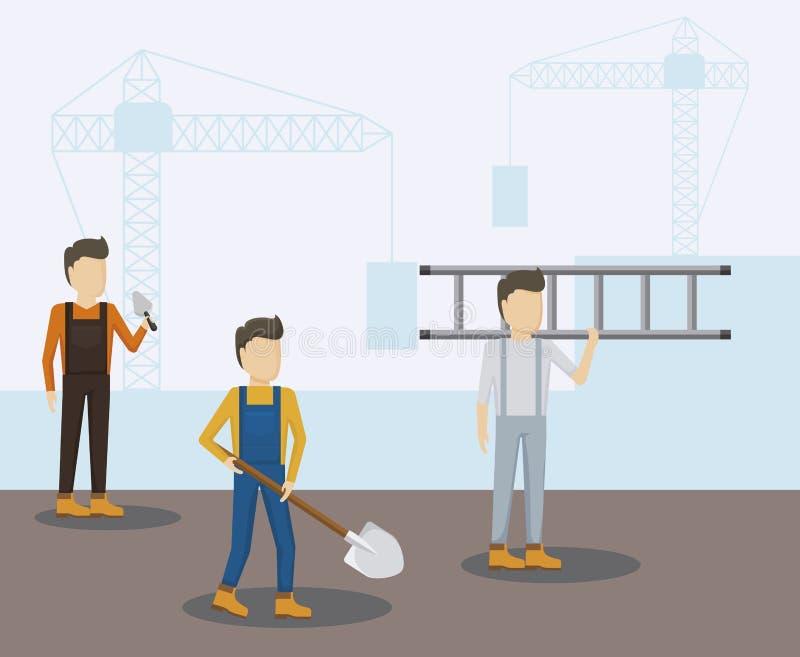 Byggnadsarbetareavatarstecken royaltyfri illustrationer