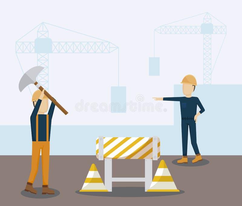 Byggnadsarbetareavatarstecken vektor illustrationer