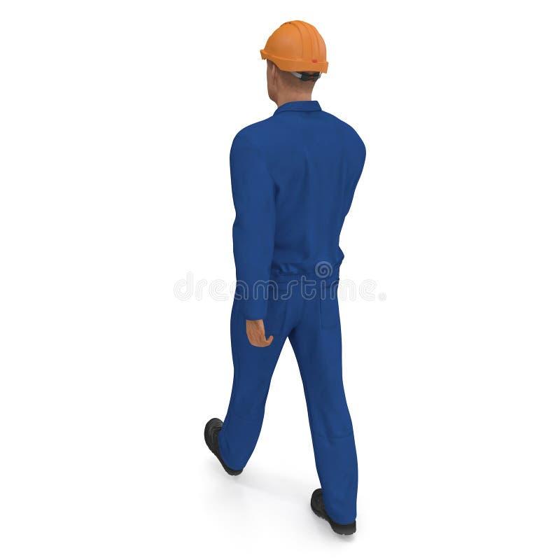 Byggnadsarbetaren In Blue Coverall med Hardhatanseende poserar illustration som 3D isoleras, på vit stock illustrationer