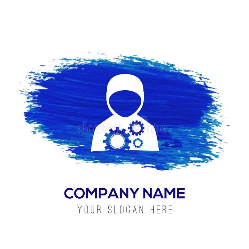 Byggnadsarbetaresymbol - blå vattenfärgbakgrund royaltyfri illustrationer