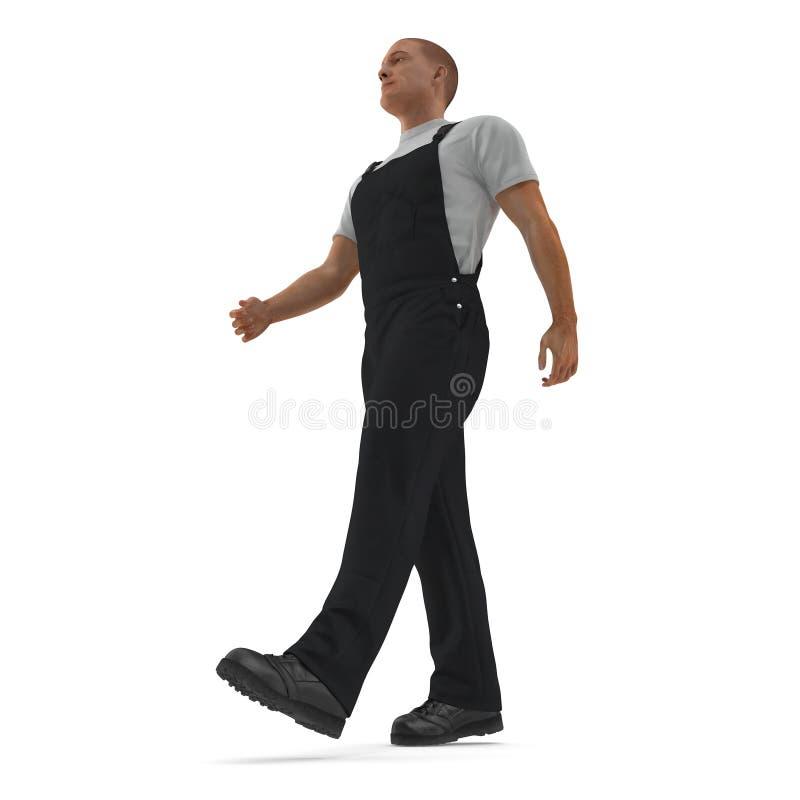 ByggnadsarbetareWearing Black Overalls att gå poserar illustration som 3D isoleras, på vit royaltyfri illustrationer