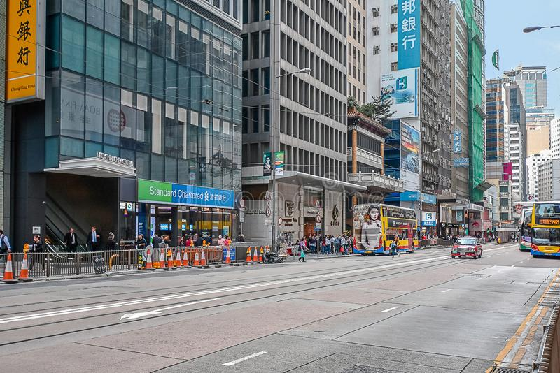 Byggnadsarkitektur i centrala Hong Kong royaltyfria bilder