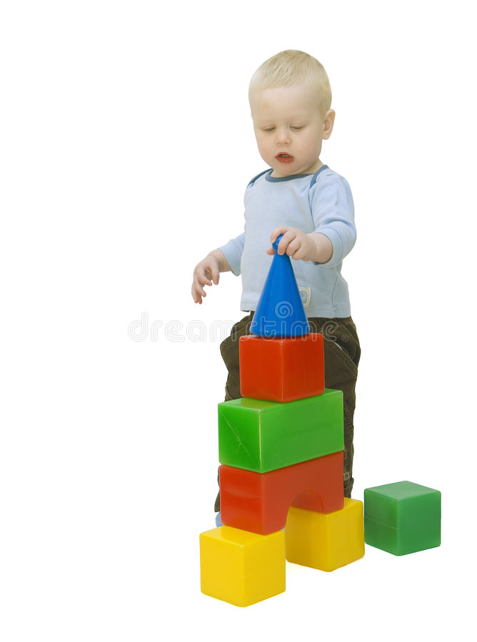 byggnadsbarnet skära i tärningar det små tornet arkivbilder