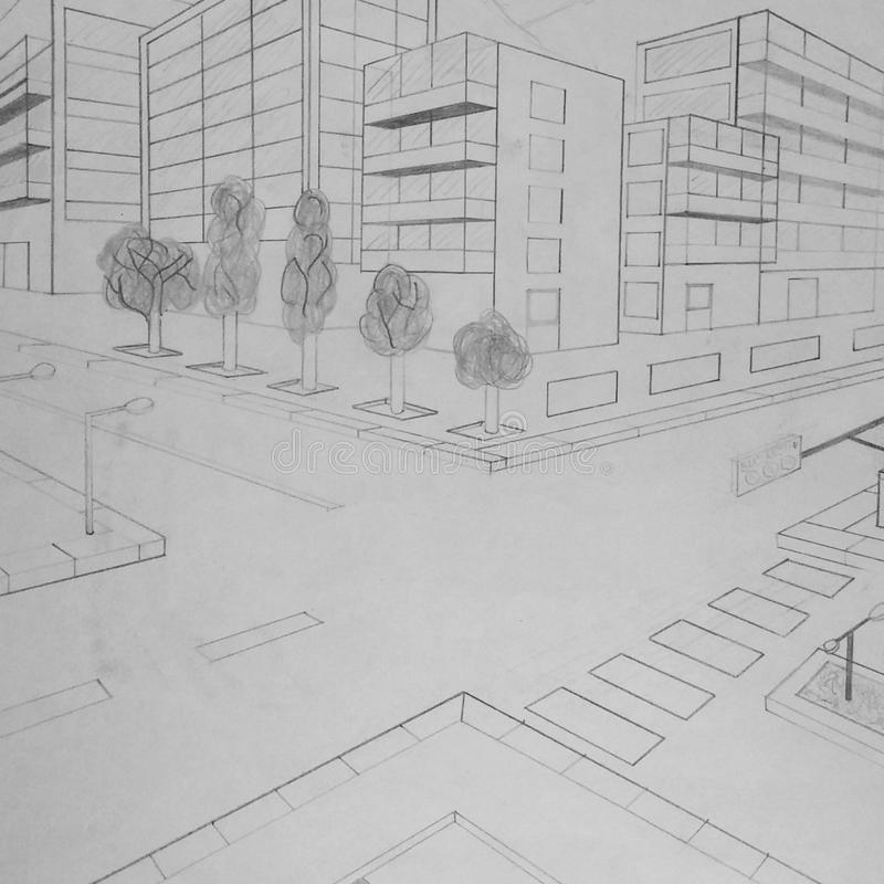 Byggnadsblyertspennateckning som göras av en 5th väghyvel - original vektor illustrationer