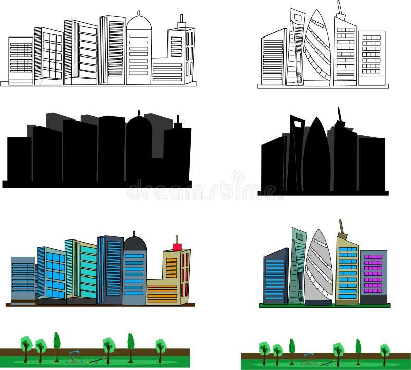 Byggnadskonturvektor arkivbild