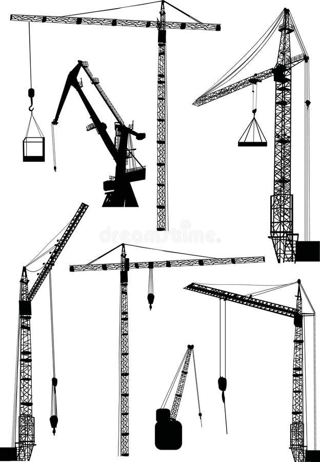 byggnadskranar ställde in sju vektor illustrationer
