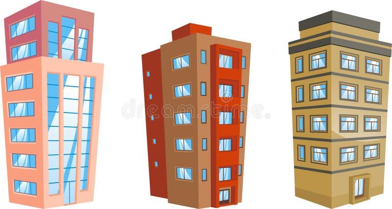 Byggnadslägenhet som inhyser 6 stock illustrationer