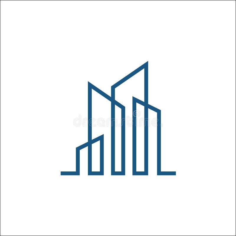 Byggnadslinje logovektormall vektor illustrationer