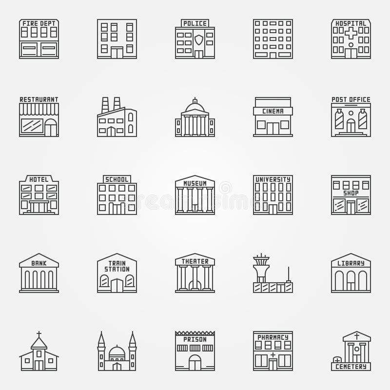 Byggnadslinje vektorsymboler royaltyfri illustrationer