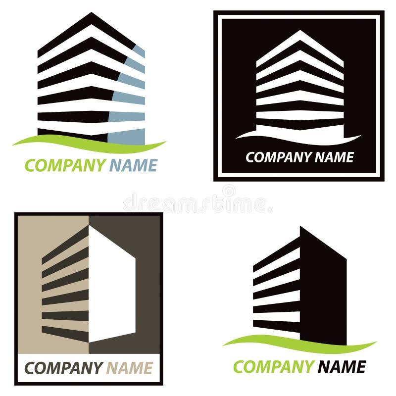 Byggnadslogo stock illustrationer