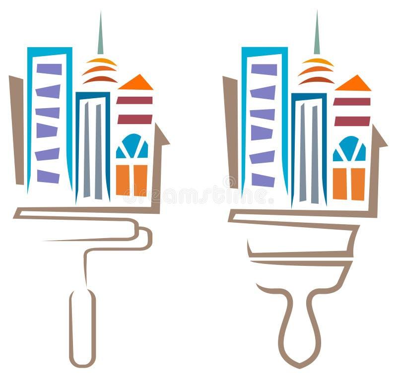 Byggnadsmålning stock illustrationer