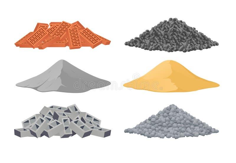 Byggnadsmaterial, en hög av tegelstenar, cement, sand, askakvarter, stenar på vit bakgrund vektor illustrationer