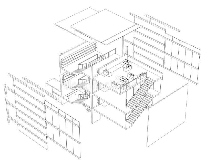 byggnadsplanberättelse tre vektor illustrationer
