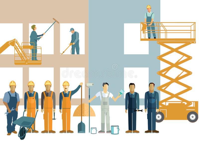 Byggnadsrengöringsmedel och byggnadsarbetare royaltyfri illustrationer
